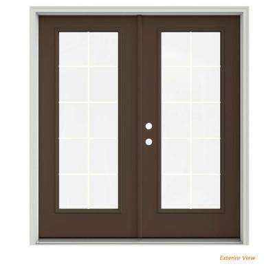 72 in. x 80 in. Dark Chocolate Painted Steel Right-Hand Inswing 10 Lite Glass Stationary/Active Patio Door
