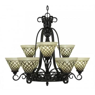 9-Light Dark Granite Chandelier with Chocolate Icing Glass Shade