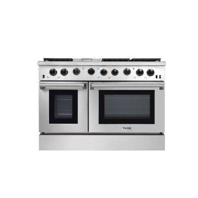 48 in. 6.8 cu. ft. Double Oven Gas Range in Stainless Steel