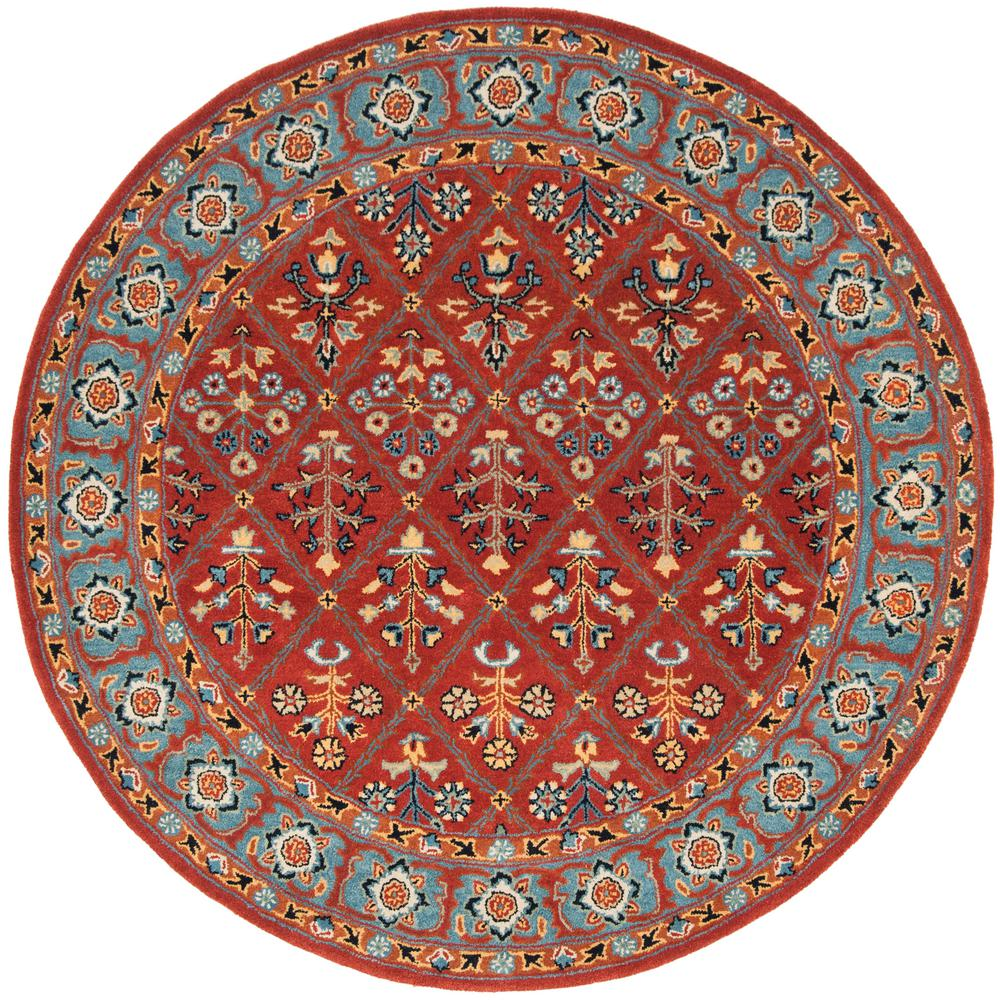 Safavieh Heritage Red Blue 6 Ft X 6 Ft Round Area Rug