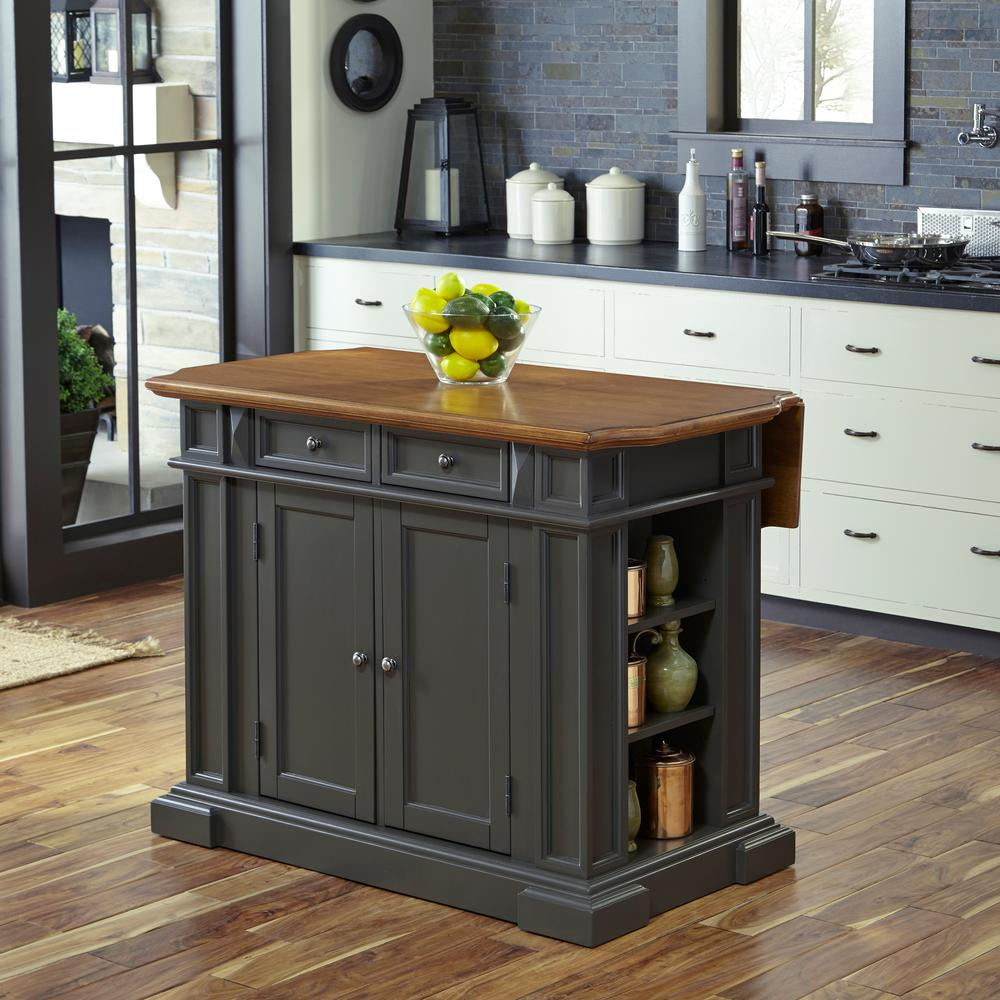 Home Styles Americana Grey Kitchen Island With Drop Leaf