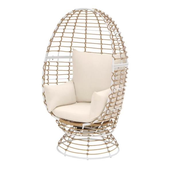 Hampton Bay Brown Wicker Outdoor Patio Egg Lounge Chair With Beige