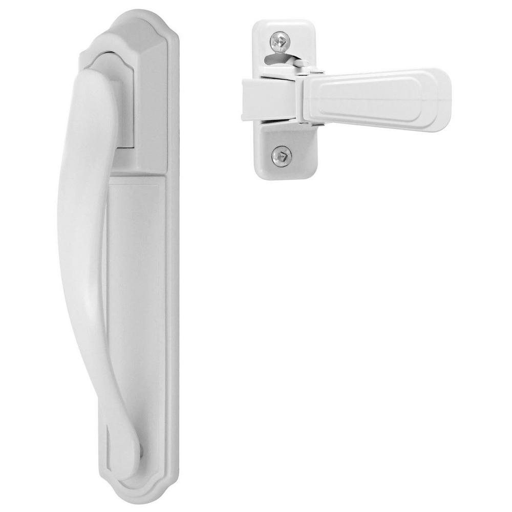White Painted Storm and Screen Door Pull Handle Set with Back