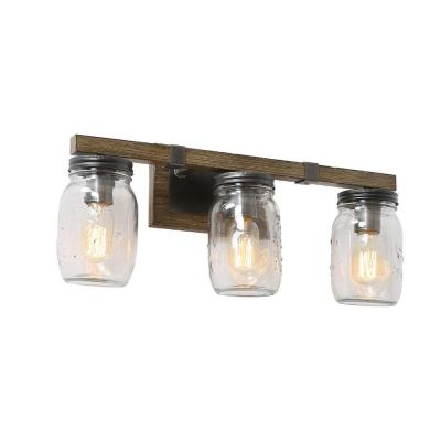 Araphi 3-Light Charcoal Gray Glass Jar Vanity Bath Light with Painted Pine Accents