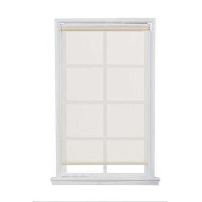 Ivory Cordless Push-up HDPE Exterior Roller Shade - 96 in. W x 66 in. L