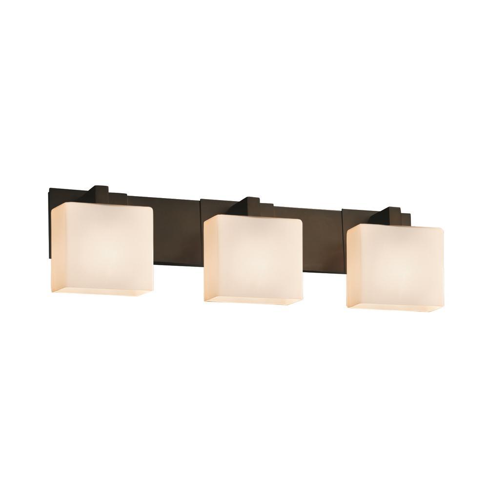 Justice Design Fusion Modular 3-Light Dark Bronze Bath Light with Opal Shade