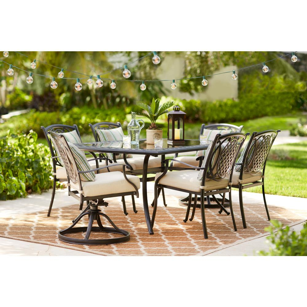 Hampton Bay Belcourt 7 Piece Metal Outdoor Dining Set With Evertru Oatmeal Cushions D11334g