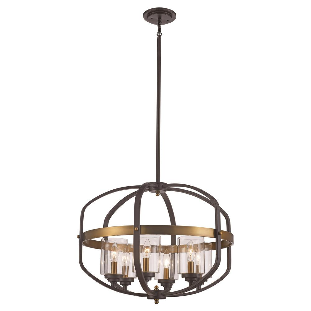 Bel Air Lighting 6-Light Rubbed Oil Bronze/Antique Gold Pendant