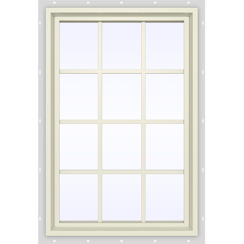 JELD-WEN 35.5 in. x 47.5 in. V-4500 Series Fixed Picture Vinyl Window with Grids in Yellow