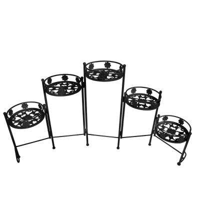 Foldable Black Steel Plant Stand