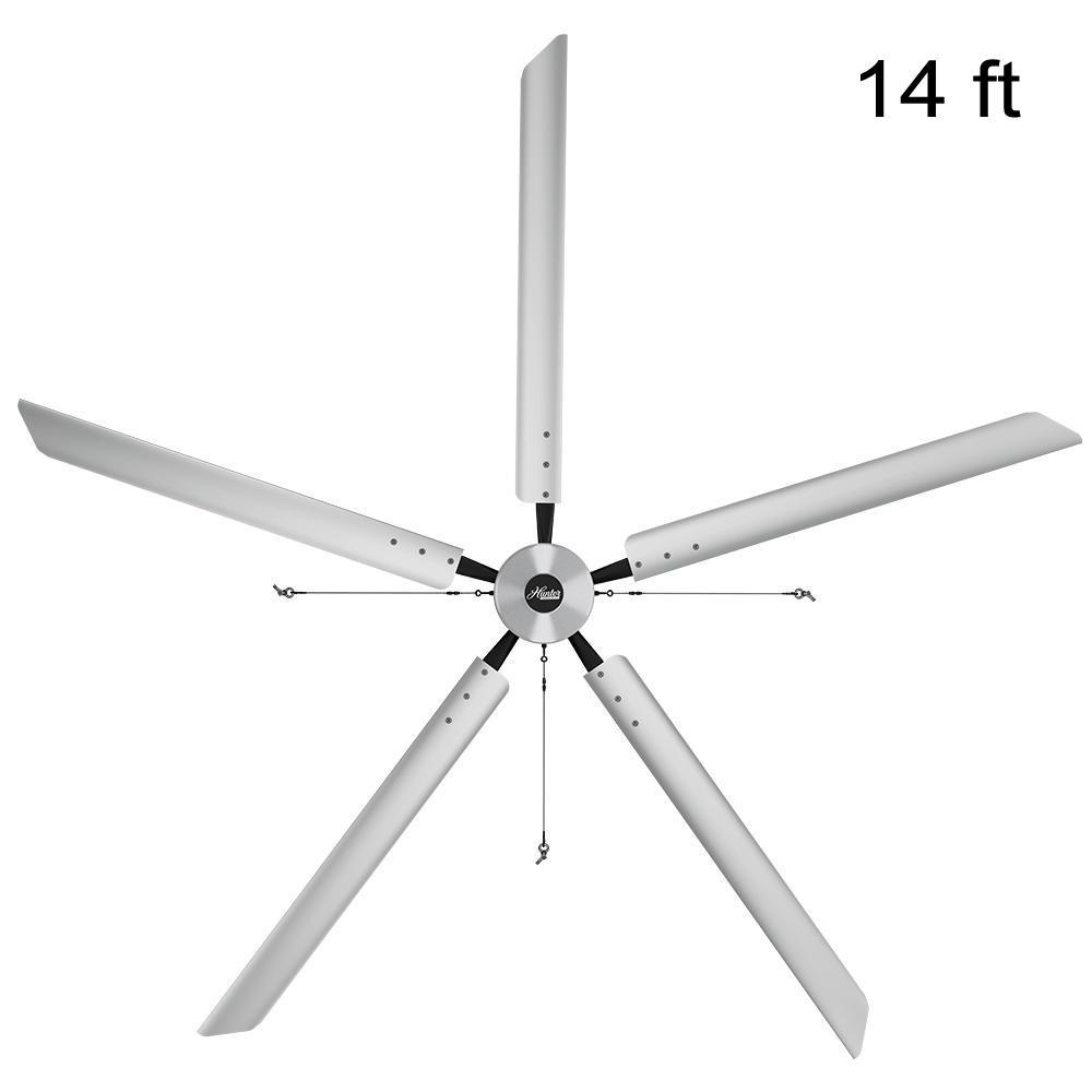 Titan 14 ft. 220-Volt Indoor Anodized Aluminum Single Phase Commercial Ceiling Fan