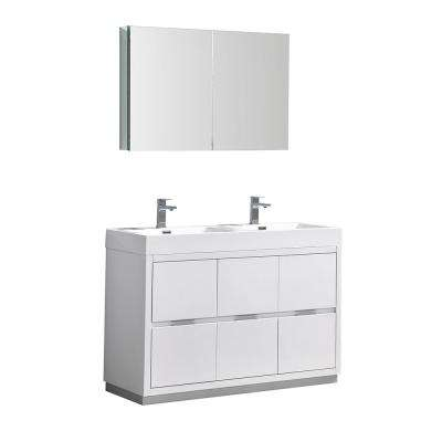 Valencia 48 in. W Vanity in White with Acrylic Double Vanity Top in White with White Basin and Medicine Cabinet