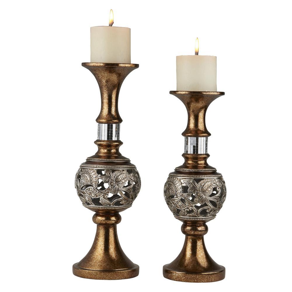 Ok Lighting Bronze Langi Polyresin Candleholders Set Of 2