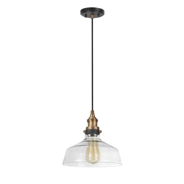 1-Light Antique Brass Mini Pendant with Clear Glass Shade