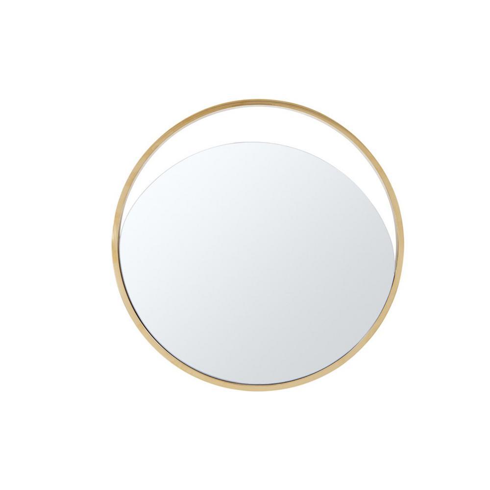 Danielle 40 in. x 40 in. Classic Round Framed Black Vanity Mirror
