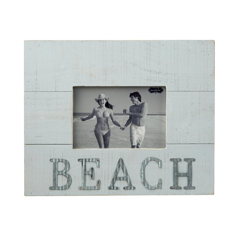 Beach 4 in. x 6 in. Distressed Planked Wood Picture Frame-4695380 ...