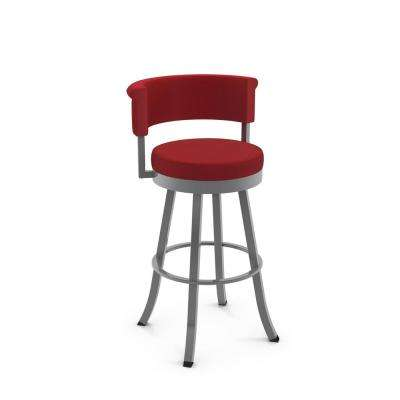 Americo 26 in. Glossy Grey Metal Red Polyester Counter Stool