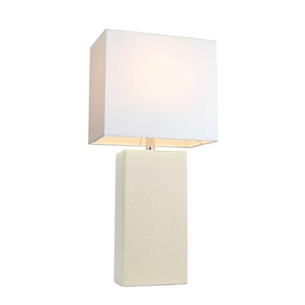 Elegant Designs 21 In Modern White Leather Table Lamp With White Fabric Shade Lt1025 Wht The Home Depot