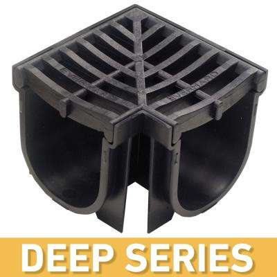 Deep Series 90° Corner for 5.4 in. Trench and Channel Drain Systems w/ Black Grate