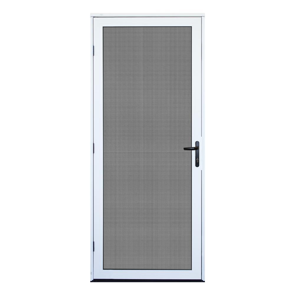 32 in. x 80 in. White Recessed Mount Ultimate Security Screen Door with Meshtec Screen