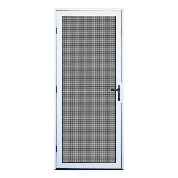 32 in. x 80 in. White Recessed Mount Ultimate Security Screen Door with Meshtec Screen