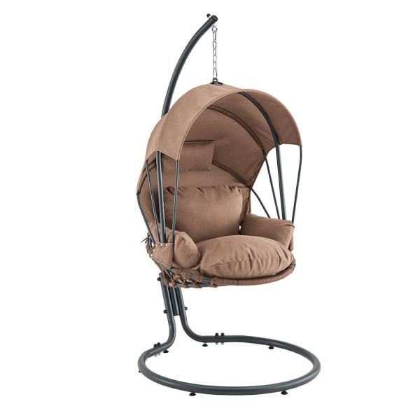 Barton Brown Patio Hanging Egg Swing Chair With Uv Resistant Polyester Fabric Canopy Cover And Powder Coated Steel Frame Stand 93911 The Home Depot
