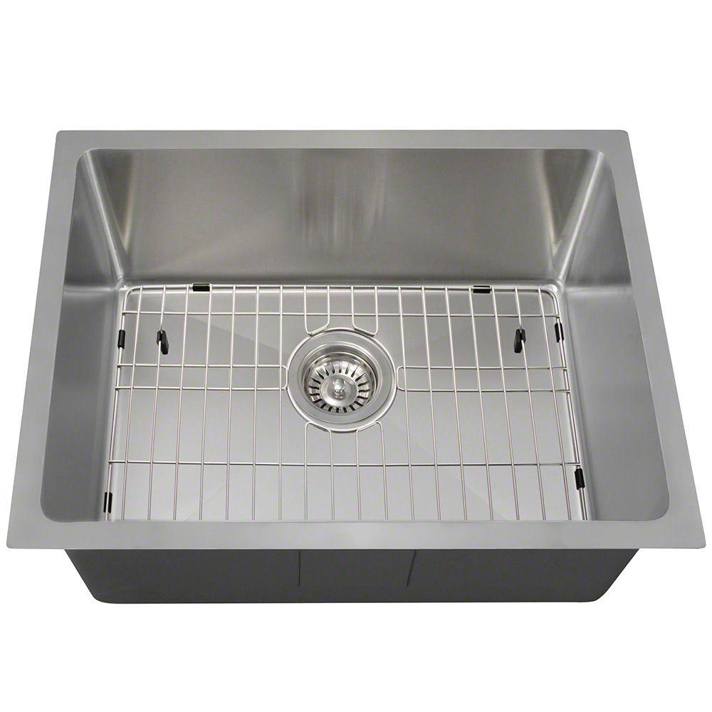 All-in-One Undermount Stainless Steel 23 in. Single Bowl Kitchen Sink