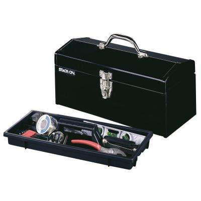 16 in. Hip Roof Steel Tool Box in Black