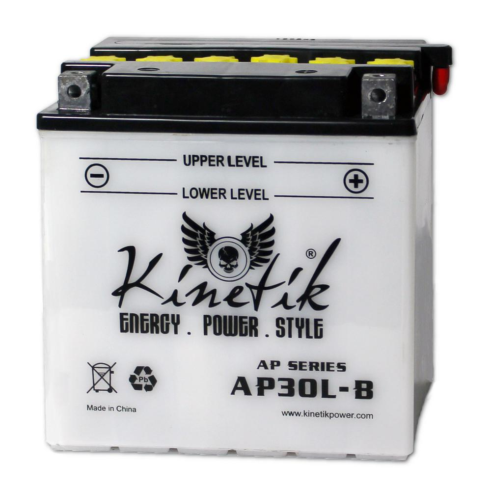 UPG Conventional Wet Pack 12- Volt 30 Ah Capacity D Terminal Battery Adventure Power conventional motorcycle batteries combine time-tested technology with modern manufacturing processes, resulting in unparalleled reliability at an affordable price. Adventure Power batteries feature high cranking amps, superior vibration resistance, and minimal maintenance. Primary Applications: Motorcycle.