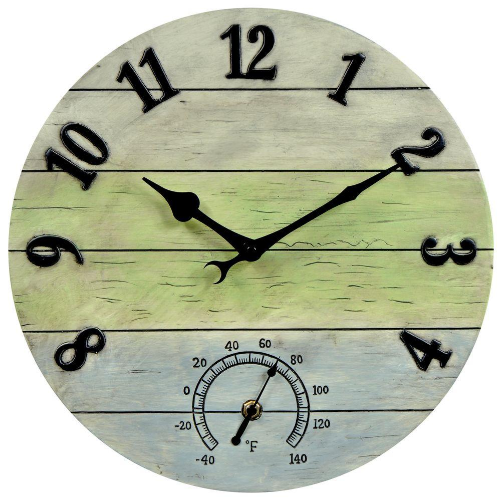 AcuRite 14 in. Weathered Combo Analog Wall Clock