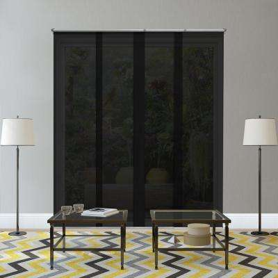 Adjustable Sliding Panel / Cut to Length, Curtain Drape Vertical Blind, Solar, See Through - Midnight Black