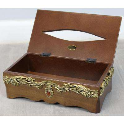 11 in. W x 6 in. D x 3.2 in. H Solid Wood Tissue Box Holder with Gold Accent