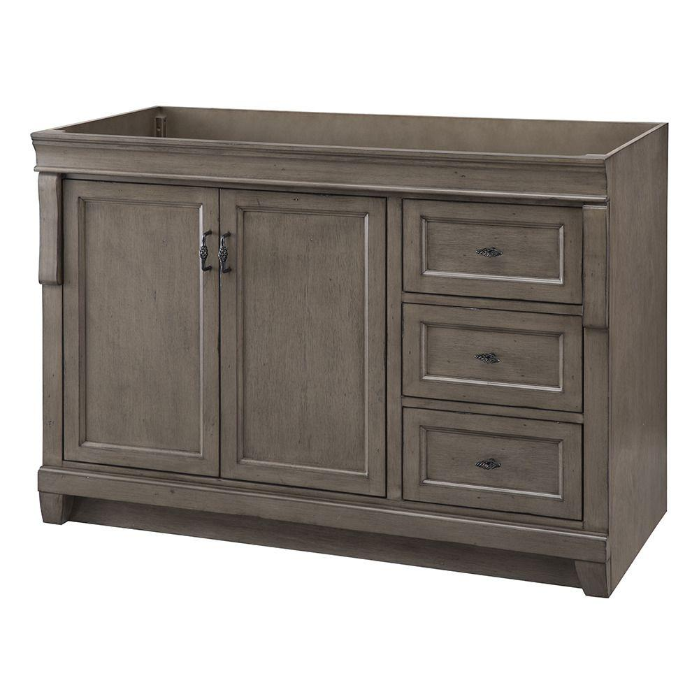 Home Decorators Collection Naples 48 In W Bath Vanity Cabinet Only Distressed Grey With Right Hand Drawers