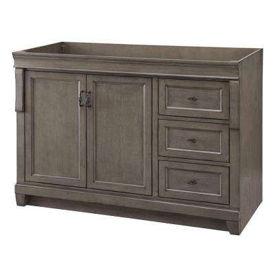 Naples 48 in. W Bath Vanity Cabinet Only in Distressed Grey with Right Hand Drawers