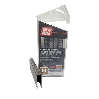 1-1/4 in. x 16-Gauge 304 Stainless Steel N-style Medium 7/16 in. Crown Staples (500 per Box)