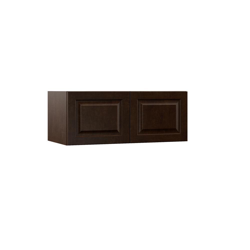 Hampton Bay Designer Series Gretna Assembled 30x12x15 In Deep Wall Bridge Kitchen Cabinet In Espresso W301215 Gres The Home Depot