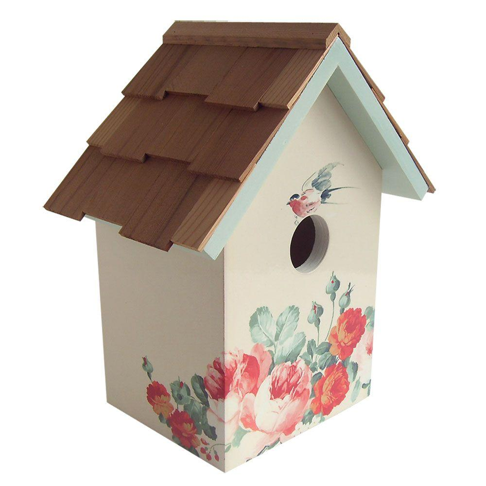 Home Bazaar Peony, Cream Background Printed Standard Birdhouse
