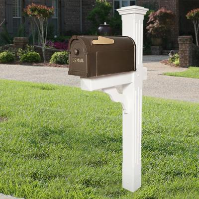 Postal Pro Post-Mount Hampton Mailbox in Bronze with Gold Lettering