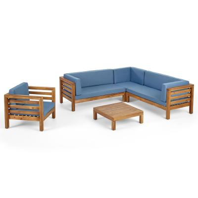 Oana Teak Brown 5-Piece Wood Patio Conversation Sectional Seating Set with Blue Cushions