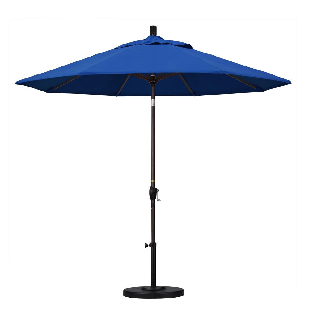 9 ft. Aluminum Push Tilt Patio Umbrella in Pacific Blue Pacifica