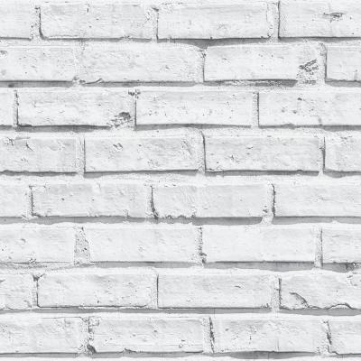 White Brick Effect Unpasted Wallcovering