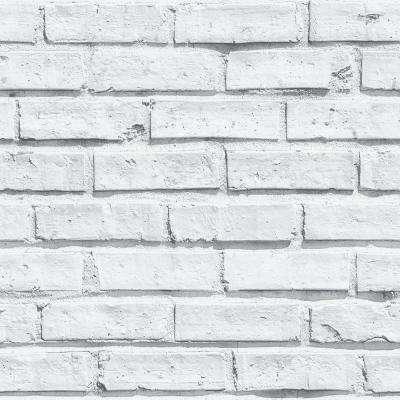 White Brick Paper Strippable Wallpaper (Covers 57.26 sq. ft.)