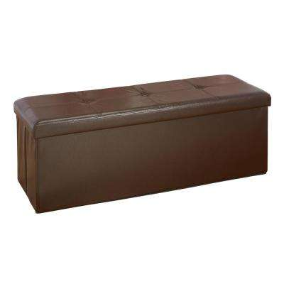 Chocolate Faux Leather Triple Folding Storage Ottoman