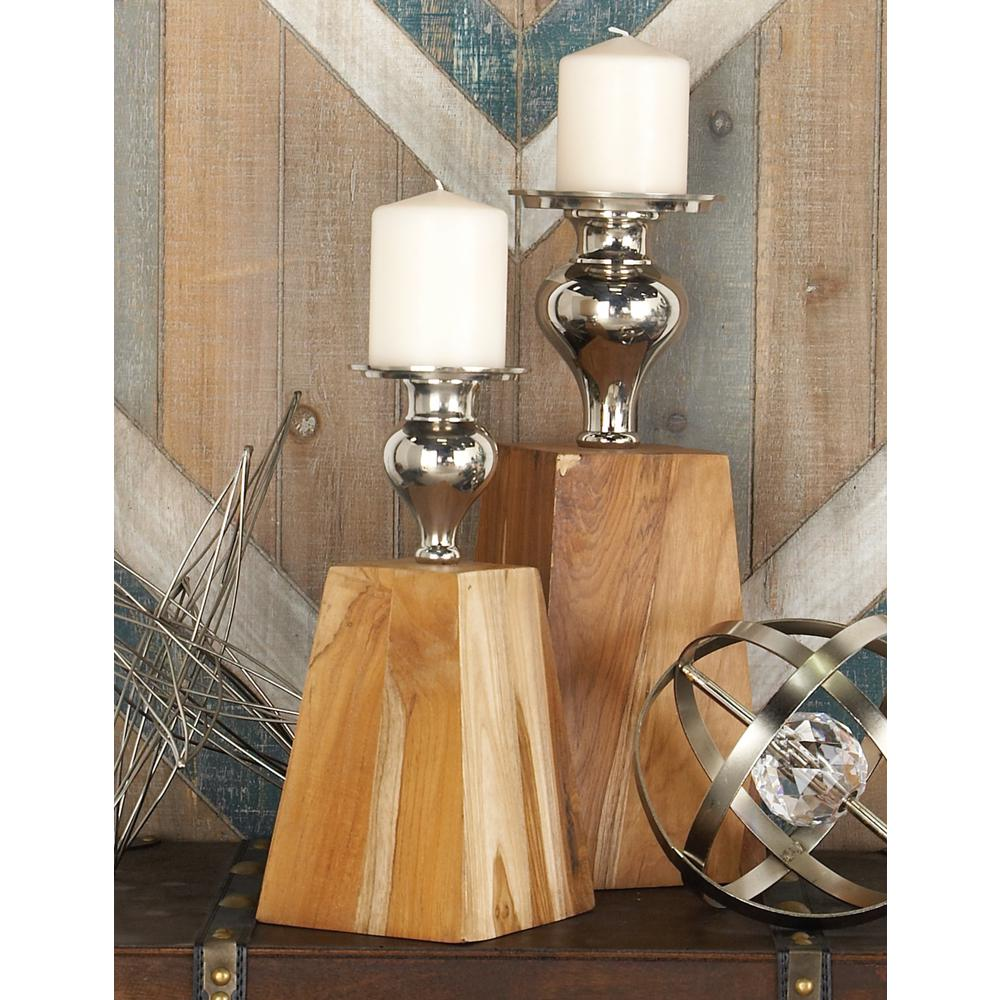 12 in. Natural Brown Teakwood, Silver Aluminum and Iron Trapezoidal Candle