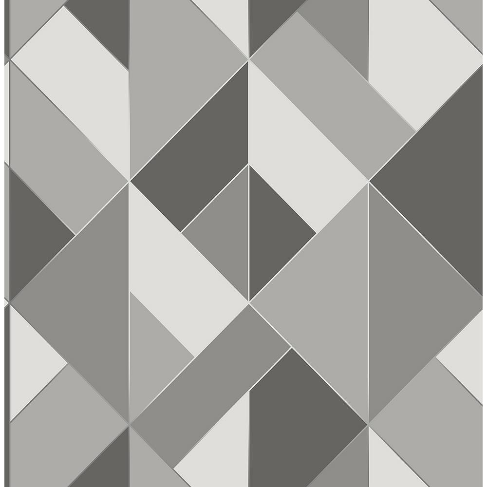 Brewster 8 in. x 10 in. Delano Grey Structured Geo Wallpaper