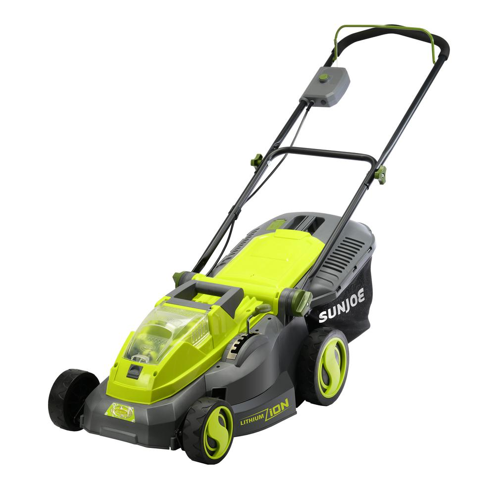 Sun Joe iON16LM 16 in. 40-Volt Cordless Battery Walk Behind Push Mower with Brushless Motor - 4.0 Ah Battery/Charger Included