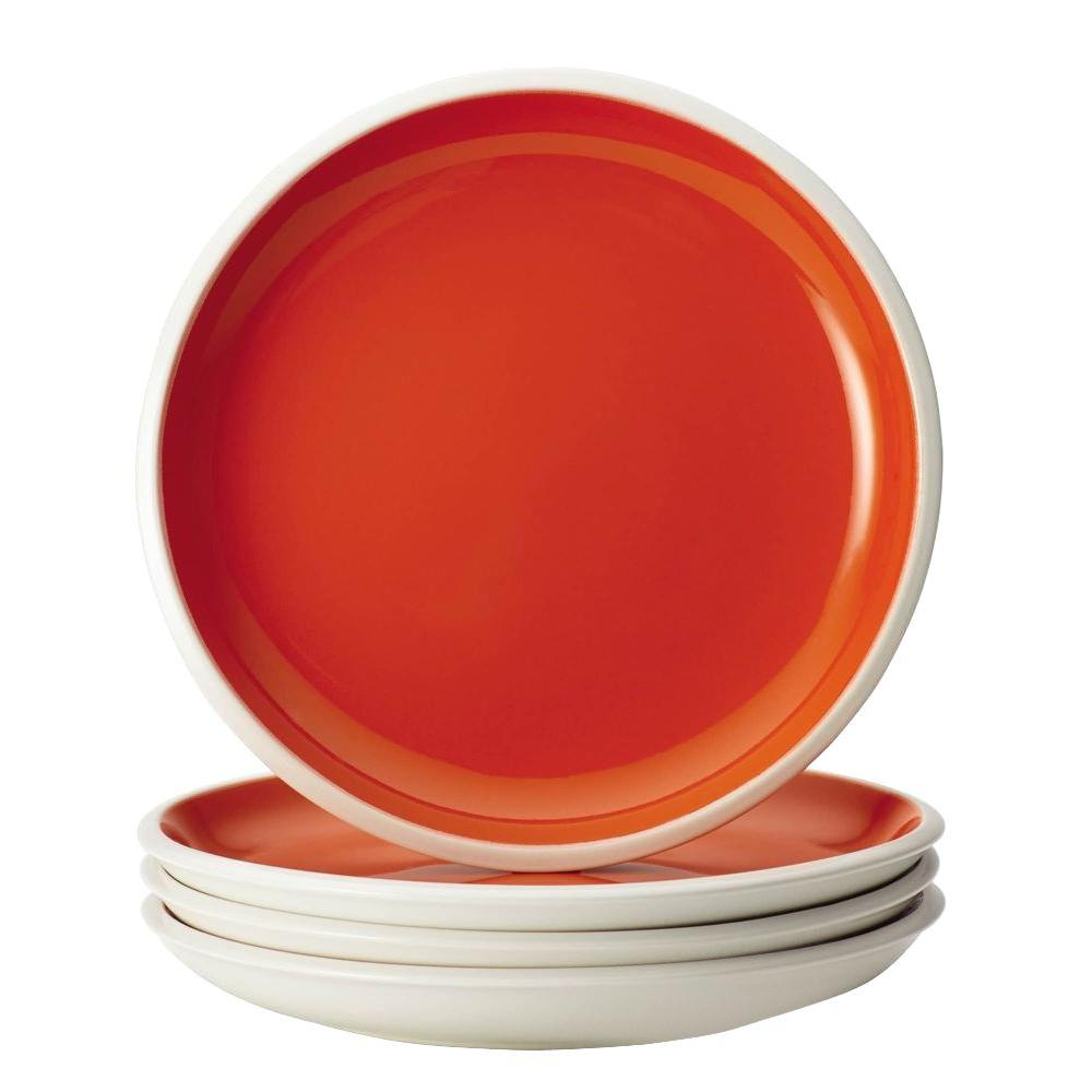 Rachael Ray Dinnerware Rise 4-Piece Stoneware Salad Plate Set in Orange