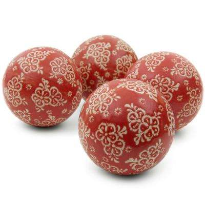Oriental Furniture 4 in. Red and Beige Flowers Porcelain Ball Set
