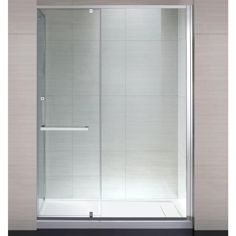 schon brooklyn 60 in x 79 in semi framed shower enclosure with hinged glass shower door in chrome and clear glass