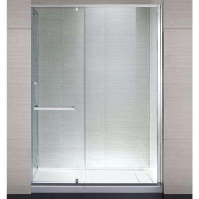 Brooklyn 60 in. x 79 in. Semi-Framed Shower Enclosure with Hinged Glass Shower Door in Chrome and Clear Glass